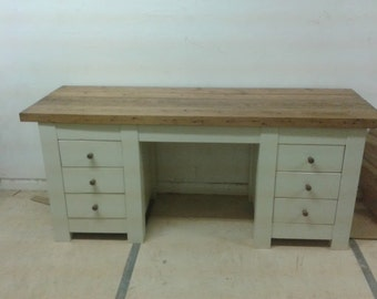 Chunky rustic twin pedestal desk 180x50cm painted
