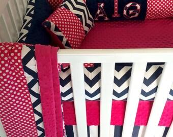 Hot Pink Minky & Navy Blue Chevron 6 piece Crib Bedding set