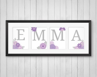 Flower Room Decor - Personalized Flower Name Print - Nursery Prints - Girl's Room Decor - Baby Girl's Nursery - Individual 4x6, 5x7 or 8x10