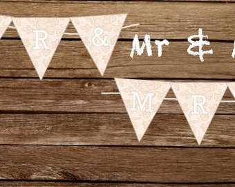 Printable Wedding Banner - Mr & Mrs lace wedding sign