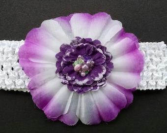 Purple Flower Headband, Hawaiian Flower Headband, Baby Headband, Newborn Headband, Flower Headband, Baby Girl Headband, Toddler Headband