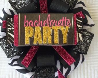 Bachelorette Party Zebra Black and Pink Corsage Bridal Shower Corsage Bachelorette Mum Future Mrs Corsage Bride to be corsage