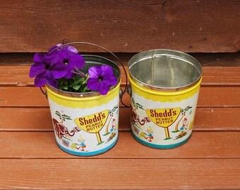 Pair of Shedd Peanut Butter Pails, Vintage Sand Pails, Beach Buckets, Graphic Planter
