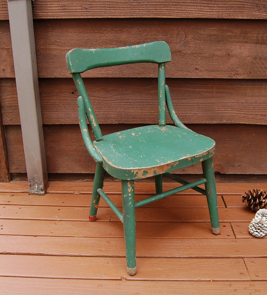 vintage green wooden childs chair small old child chair