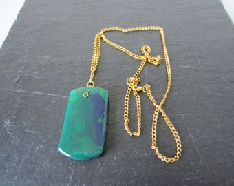 Green and Blue Dog Tag Polymer Clay Pendant Necklace