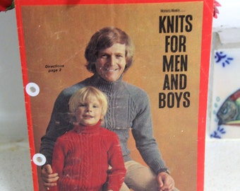 Vintage Knitting pattern - Womens Weekly Knits for Mens and Boys