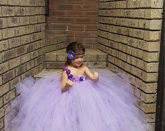 Lavander Lilac Flowergirl Tutu Dress- Pastel Lavender Dress-Pastel - elegant  bright party tutu