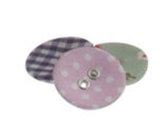 Assorted Floral Fabric Covered Buttons in Corked Jar