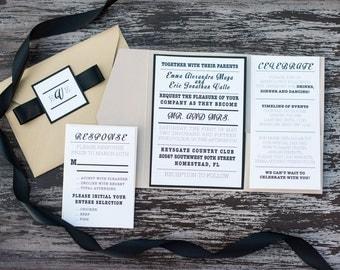 Industrial Wedding Pocket Fold Invitation