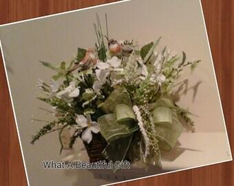 Spring Floral Arrangement, SHIPPING INCLUDED, Elegant Dogwood Basket Arrangement, Table Centerpiece, Mothers Day Gift, Bird Arrangement