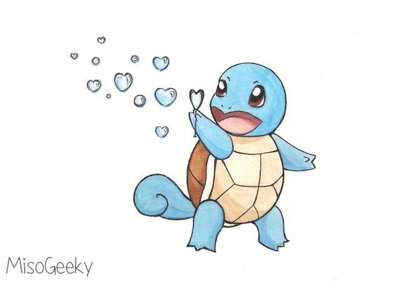Bubbles Squirtle Pokemon Original Drawing by MisoGeeky on Etsy