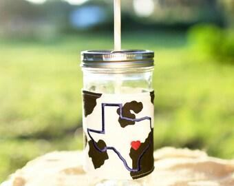 Texas Mason Jar Tumbler 24 oz | Custom Mason Jar | State Love | State Heart | Mason Jar Cup | Personalized Tumbler
