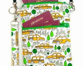 Passport bag, iPhone 6 plus purse, small shoulder bag, 3 pocket bag, 3 compartment purse, passport holder, passport shoulder purse