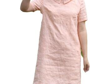 short sleeve summer dress peter pan collar