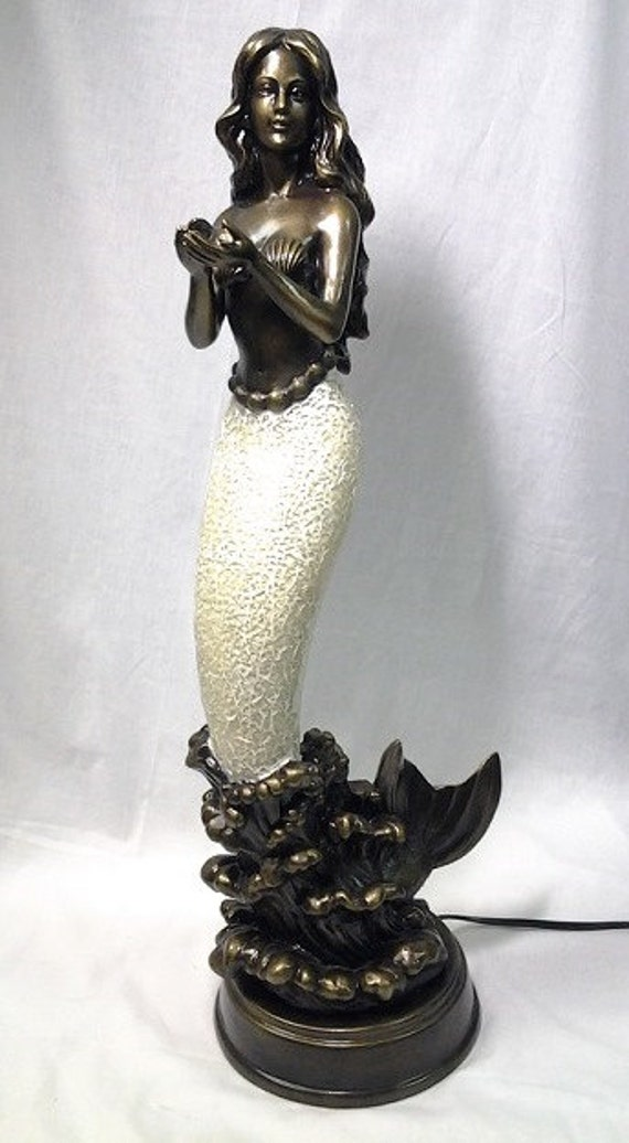White Standing Tall Hands Mermaid Tiffany Style Crackle Glass