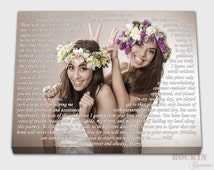 Maid of honor gift, Sisters photo to canvas, wedding lyrics, Best friends canvas typography, keepsake