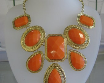 Orange & Gold Waterfall Fashion Style Necklace