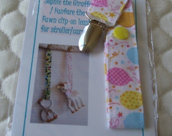 BatesCreates Sophie the Giraffe leash, tether, toy - 100% cotton fabric - topstitched (PASTEL BALLOONS)