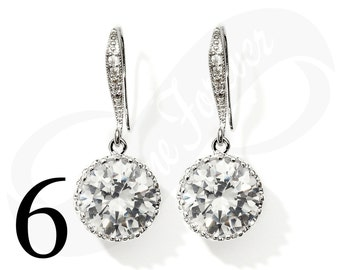 Set of 6 Earrings for Bridesmaid Cubic Zirconia Dangle Earring Set Wedding Silver Tone