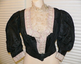 1890s Victorian Bodice with Lace Trim - Wearable Size