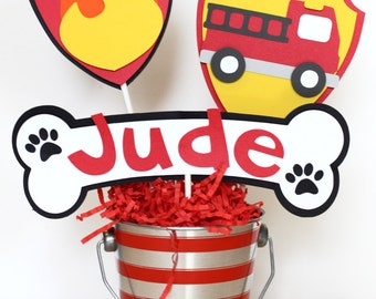 Fire Truck Centerpiece, Fire Truck Cake Toppers