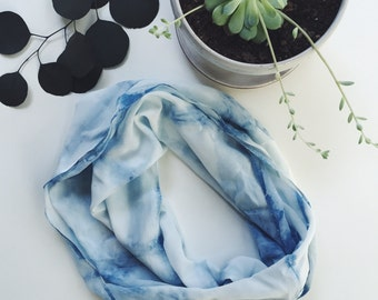 Indigo Circle Scarf | Hand Dyed Silk