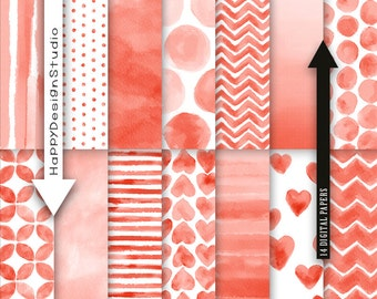Red watercolor digital paper pack scrapbooking basic classic pattern hand paint watercolour printable party invitation Christmas card design