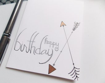 Arrow Birthday Card - Happy Birthday Card - Birthday Card For Her - Birthday Card For Girl - Handlettered Birthday Card - Simple Card