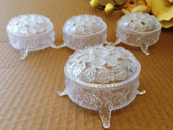 Medium Clear Favor Boxes : Large clear round ornate trinket plastic box by koralima