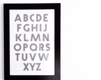 A4 alphabet print nursery kids room typography black and white