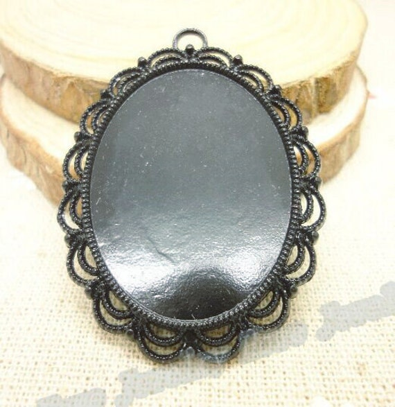wholesale 20pcs black large oval pendant trays 30mmx40mm