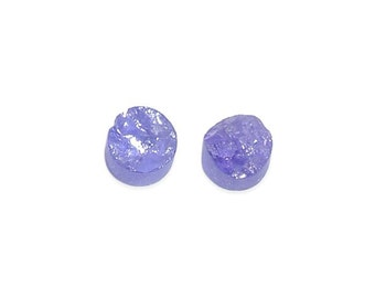 Tanzanite Loose Gemstone Set of 2 Round Rough Cut 1A Quality 4mm TGW 0.80 cts.