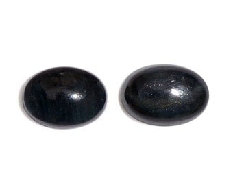 South African Blue Tigers Eye Set of 2 Loose Gemstones Cabochon Oval 7x5mm TGW 1.51 cts.