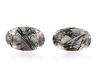 Black Rutilated Quartz Oval Cut Loose Gemstones Set of 2 1A Quality 5x3mm TGW 0.35 cts.