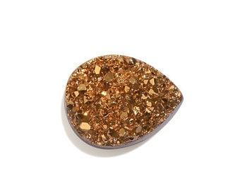 Gold Drusy Quartz Pear Cabochon Loose Gemstone 1A Quality 9x7mm TGW 1.10 cts.