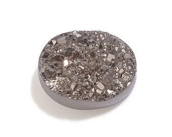 Platinum Drusy Quartz Oval Cabochon Loose Gemstone 1A Quality 9x7mm TGW 1.15 cts.