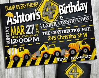 Construction birthday invitation, Construction birthday party, Construction party, Construction Invitabirthdtion, ay invitation, Printable