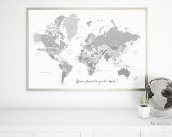 Grayscale World Map Etsy - Us map pictures of couple