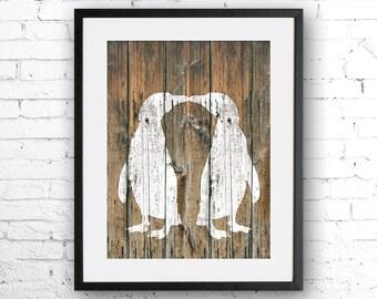 Penguin Love 2 art illustration print, Penguin painting, animal illustration, Wall art, Rustic Wood art, Animal silhouette, bird art