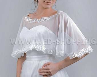 Wedding Tulle Cape, White or Ivory Bridal Cape with Lace E1514 Capelet Cover Up Shrug