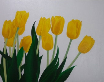 Yellow Tulips Original Acrylic Canvas Painting