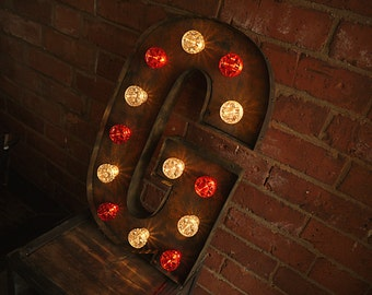 Illuminated Fairground Letters (Marquee Letters // Custom Marquee Letters // Rust // Rustic // Wedding)