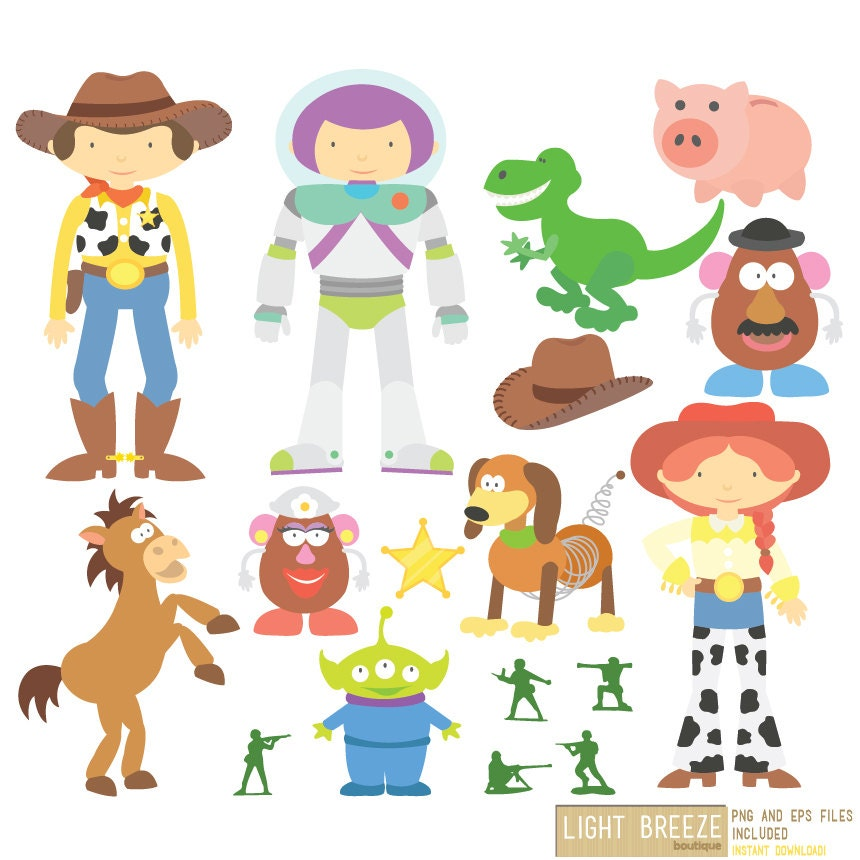 toy story digital clipart   vector set instant download toy story clipart black and white toy story clip art free