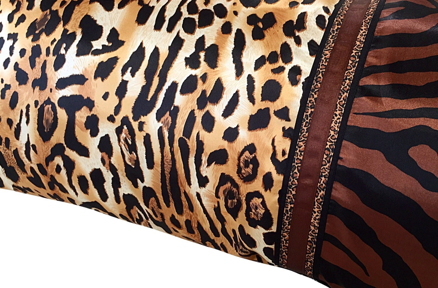 Bold Leopard Satin Pillowcase Brown Leopard Satin Pillow