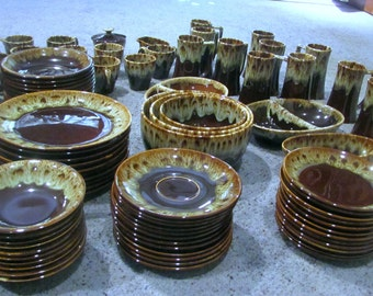 McCoy Canonsburg Hull Pottery HUGE 88 PC SET Ironstone Dishes Set Brown Drip
