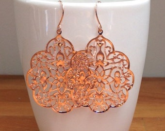 Glossy rose gold plated gothic filigree earrings