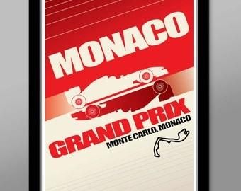 Monaco Grand Prix Race Inspired Minimalist Poster - Print 279 - Home Decor