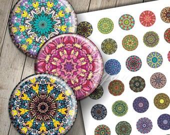 "Mandala 1 inch circles Digital Collage Sheet kaleidoscope 1"" bottlecap images 30mm 25mm 1.25"" 1.5"" round printable download cabochon pendant"