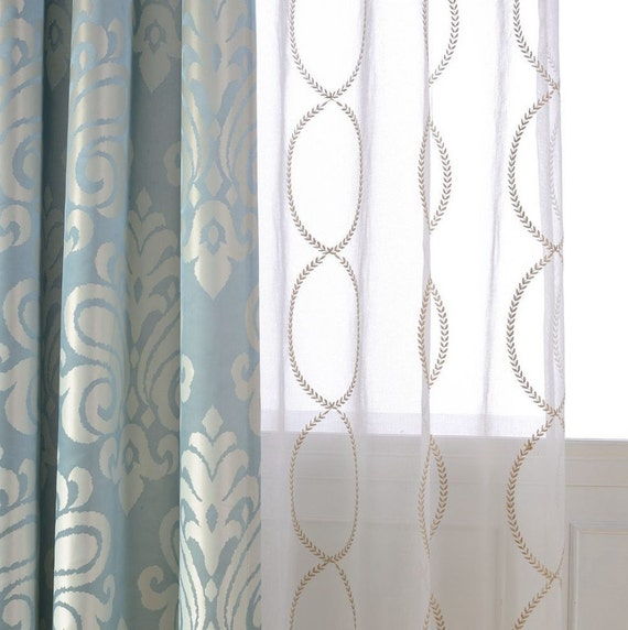 Pair of Gold Leaf Infinity Patterned Embroidey Sheer Curtains Made ...