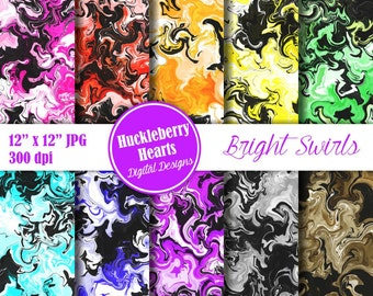 80% OFF SALE Swirl Paper, Digital Swirls, Marbelized Paper in Bright Colors and Black